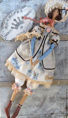 кукла тильда ручной работы Барышня в голубом) - голубой,кукла тильда купить ♡