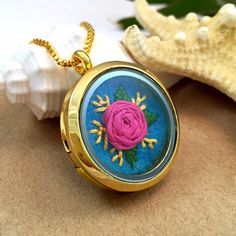 Hand embroidered silk ribbon rose necklace