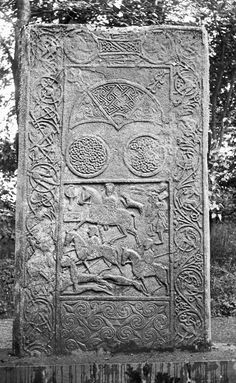 View of reverse of Hilton of Cadboll cross-slab. Reproduced as frontispiece in J Anderson Scotland in Early Christian Times, second series. Ancient Greek Architecture, Gothic Architecture, Pictish Warrior, Viking Runes, Early Christian, Celtic Art, Old Stone, Celtic Designs, Picts