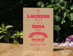 Letterpress trouwkaart – Laurens & Irma