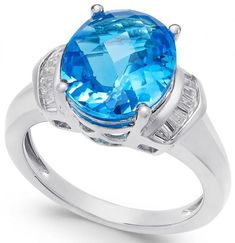 ) and White Topaz ct.) Ring A contemporary classic, this oval-shape Swiss blue topaz ct.) ring is accented with white topaz ct.) baguettes to give it a modern appeal. Set i Blue Topaz Necklace, Blue Topaz Ring, White Topaz, White Gold, Jewelry Rings, Jewelry Watches, Topaz Jewelry, Jewlery, Gold Jewellery