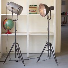 The Studio Spotlight Floor Lamp (pictured left) is a fun and eclectic accent light that will brighten faces and as well as your dark corner. Use it as a stand alone lighting solution or pair with a fe