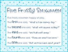 "The poem ""Five Frosty Snowmen"" used to teach ordinal numbers, quotation marks, sequencing, and seasonal change. Includes literacy station activities, worksheets, reader's theater, and math activities.$"