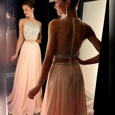 Charming Prom Dress,Two Piece Chiffon Prom Dresses,High Neck
