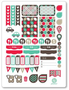 One 6 x 8 sheet of geometric weekly spread planner stickers cut and ready for use in your Erin Condren life planner, Filofax, Plum Paper, etc! An