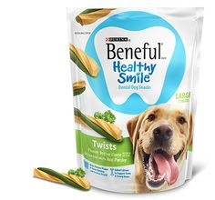 Beneful has a new dog food and treats specifically formulated to keep your dog's teeth healthy and strong.  They now make Beneful Healthy Smile Adult Dog Food along with dental dog treats with twists or ridges.  You will receive an entire sample packet just by liking their page.  Help keep your dog's teeth gleaming! http://ifreesamples.com/help-your-dog-smile/