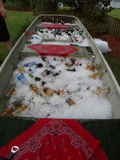 Use Jon Boat or canoe as a cooler.