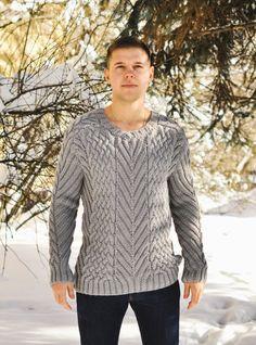 e9d7ff6c8 Woolcraft Mens Sweater Aran Knitting Pattern (JL005)