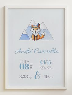 'Jimmy the Fox' is a super cute hand drawn Birth Announcement design from our 'Day One' collection, suitable for all nurseries or baby and toddler room.  'Day One' is all about the memories of one of the best days of our lives - the day your baby gave their first breath and, surely, a day you will never forget.  This artwork will be a beautiful and elegant finishing touch to your baby's nursery and it also makes the perfect gift for new parents. Baby Room Wall Decor, Nursery Room, Newborn Birth Announcements, Gifts For New Parents, Nursery Signs, Forest Friends, Baby Birth, Nurseries, Baby Names