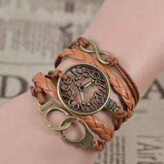 Handcuffs pendant watch face unisex bracelet