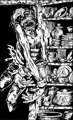 """All zombies should have stripper cuffs & collars (""""House of Hell"""", Warlock: The Fighting Fantasy Magazine art credited to Tim Sell and Dave Eastbury) OK it's really just supposed to be a. Dying Of The Light, Alien Races, Call Of Cthulhu, Night King, Game Workshop, Paladin, Box Art, Dungeons And Dragons, The Magicians"""