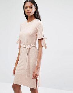 Lavish Alice Nude Rib Jersey Tie Detail Dress
