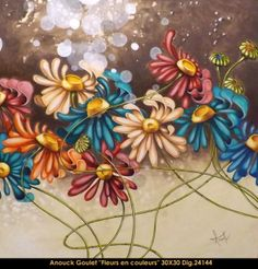 Oeuvre original par / original painting by: Anouck Goulet #multi-art.net/... #art #anouckgoulet #multiartltee #acrylicpainting #canadianartist #quebecartist #flowers #whimsical