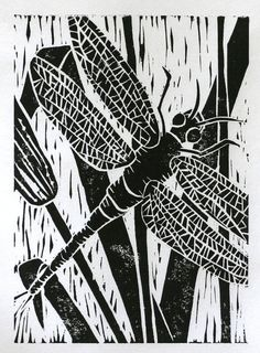 Black dragonfly print 5x7 original linocut winged door ruthsartwork