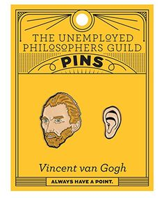 Van Gogh and Ear Enamel Pin Set - 2 Unique Colored Metal Lapel Pins