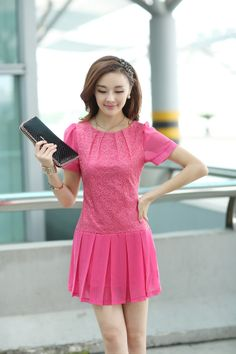 Elegant, Chiffon Dress, Lace dress, Top, Short Sleeve, A-line dress, YRB, 0365, Yellow, blue, Red, pink