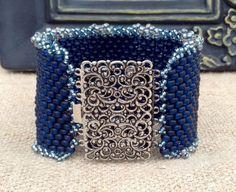 Peyote Stitch Beaded Cuff Bracelet  Denim by CountryChicCharms, $138.00