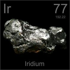 77 Iridium -Ir- A shiny, silvery, very dense precious metal which belongs to the platinum group. It is the most corrosion resistant of the elements