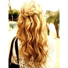 Waterfall Braid ❤ liked on Polyvore featuring hair, hair styles, hairstyles, beauty and cabelos