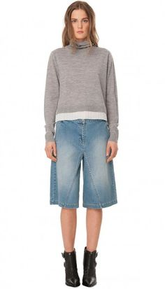 Tibi Denim Culotte Shorts available at Culotte Shorts, Denim Culottes, Denim Shorts, Modern Outfits, Casual Outfits, Cullottes, Pants Outfit, Nordstrom, Turtle Neck
