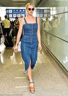 Margot Robbie shows off her casual style in tight jean dress and platform shoes | Daily Mail Online