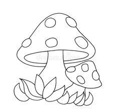 Black And White - Mushrooms Stock Illustration - Illustration of white, color: 12505448 Art Drawings For Kids, Drawing For Kids, Easy Drawings, Mushroom Crafts, Mushroom Art, Colouring Pages, Coloring Books, Mushroom Stock, Mushroom Drawing