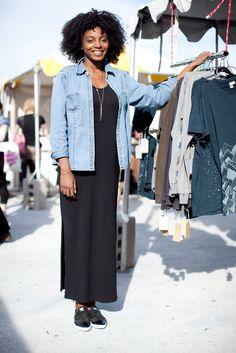 Most head to Brooklyn Flea for the clothes, but Maya Harper, wearing a Made By You maxi dress with an Eddie Bauer jean jacket and Dea Dia necklace, searches for out-of-the-box bath products. #refinery29 http://www.refinery29.com/street-style-brooklyn-flea#slide-16