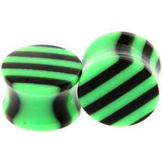 Morbid Metals Green And Black Striped Plugs 2 Pack | Hot Topic ($21) ❤ liked on Polyvore featuring jewelry, earrings, plugs, gauges, piercings, earrings jewelry, green jewelry, metal earrings, green earrings and metal jewelry