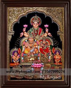 Traditional Handmade Kubera Lakshmi Tanjore Painting crafted on plywood with 22 carat gold foil, semi-precious stones, paints and framed with best Teak Wood. Mysore Painting, Tanjore Painting, Indian Artwork, Indian Art Paintings, Traditional Paintings, Traditional Art, Lovable Images, Temple Design For Home, Hindu Statues