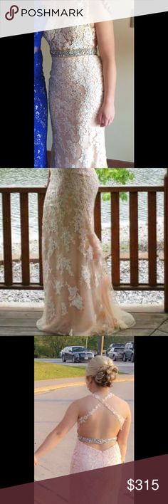 Mori lee prom dress size 4 Beautiful dress with lots of details. Over $700 originally. Can ship day or purchase usually. Fastens at two places in the back. Never altered and has a train so length is not an issue. Available on m for less Mori Lee Dresses Prom