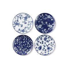 Williams-Sonoma Japanese Garden Salad Plates Mixed Set of 4 featuring polyvore home kitchen & dining dinnerware blue and white floral dinnerware blue white plates handpainted plates williams sonoma dinnerware floral dinnerware