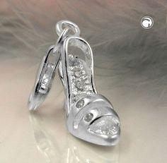 Anhänger, Charm Damenschuh, Silber 925  Highheels, mit 6 kleinen Zirkonias im Schuh, Karabiner 9x5mm