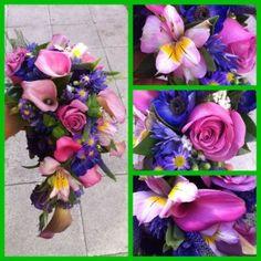 Bonito ramo de novia de calas y rosas