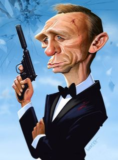 Daniel Craig caricature - 25 Beautiful Celebrity Caricatures by Indian Artist Mahesh Nambiar