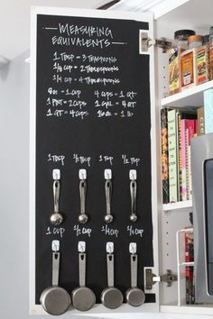 Easy Tips to Organize the Kitchen - DIY Chalkboard Measuring Cups and Spoons and Reference Cabinet tutorial via Modish and Main #kitchenorganization #kitchenhacks #kitchentips #kitchenideas #organizationtips #organization #organizationideas