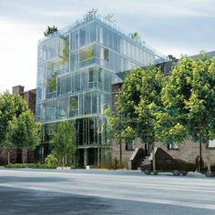 A rendering of the Culver House in Chicago's Gold Coast neighborhood, designed to reflect the park across the street and to reveal its interior gardens through its low-emission, double-paned glass facade.