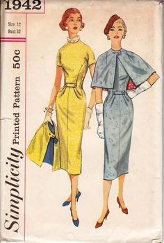 Simplicity 1942 Womens Bombshell Sheath Dress & Cape 50s Vintage Sewing Pattern Size 12 Bust 32 inches UNCUT Factory Folded