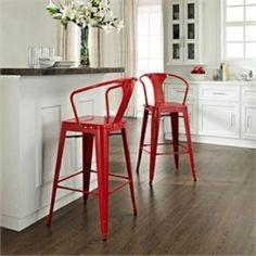 Crosley Amelia Red Metal Cafe Barstool with Back - Set of 2 20.3&qu...