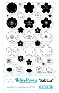 SAKURA Planner Stamps Photopolymer Clear Stamps by AtelierDreams Sakura Card Captors, Eraser Stamp, Tampons Transparents, Stamp Carving, Handmade Stamps, Floral Illustrations, Pattern Illustrations, New Years Decorations, Japanese Patterns