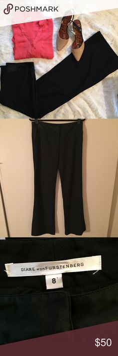 "Diane von Furstenberg Wide Leg Trousers Classic wide leg pants from DvF. EUC. Silky waistband and pockets. High quality black Diane von Furstenberg trousers, 34"" inseam Diane Von Furstenberg Pants Wide Leg"