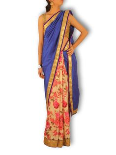 Half & Half Saree with royal blue raw silk pallu & Pink/white Floral Printed Satin Pleats - Sweta Sutariya - 1
