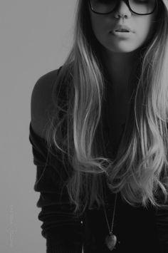 long long hair, glasses