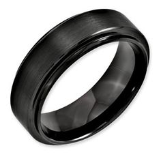 Bridal Wedding Bands Decorative Bands Stainless Steel Polished Black IP Ridged Edged Ring Size 13