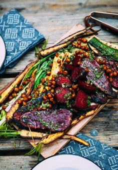Grilled Veggies with Pan Fried Chickpeas & Chimichurri via A House in the Hills