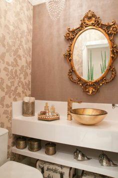 Badezimmer Deko Bader Ideen Spiegel Mit Goldenem Rahmen Goldenes Waschbecken