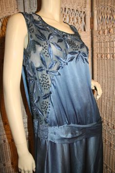 1920's Peacock Blue Silk Beaded Flapper Dress M by MorningGlorious