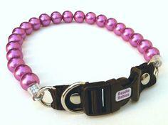 Chunky Violet Pearl Dog Collar Buckle Collars by BeadieBabiez