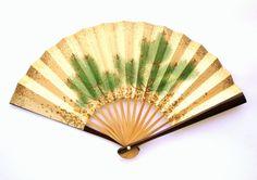 Vintage Japanese Fan - Sensu Paper Fan -  Small Size Bridal Fan (F1-4) Pine With Lots of Gold