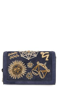 Free shipping and returns on Emilio Pucci 'Zodiac' Crossbody Bag at Nordstrom.com. Lush navy suede stands in for the night sky on a cosmically inspired crossbody featuring shimmering, ornate zodiac embroidery. Detach the chain strap for an impossibly chic clutch that's destined to stand out.