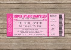 Concert Ticket Invitation Template Rock Star Concert Ticket Birthday Party Invitation Music Invitation .